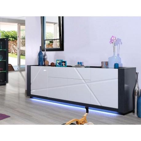Quartz I -large white gloss sideboard with dark wood body
