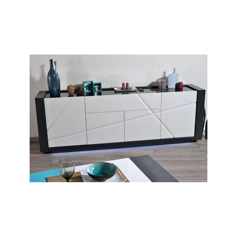 Quartz I large white lacquer sideboard with dark wood  : quartz i large white gloss sideboard with dark wood body from sena-homefurniture.co.uk size 800 x 800 jpeg 48kB