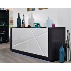 Quartz II -large white  gloss sideboard with dark wood body