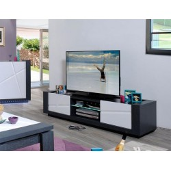 Quartz - white lacquer TV Unit with dark wood body