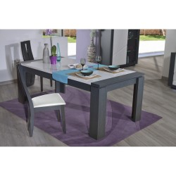 Quartz - extendable dinning  table with dark wood body