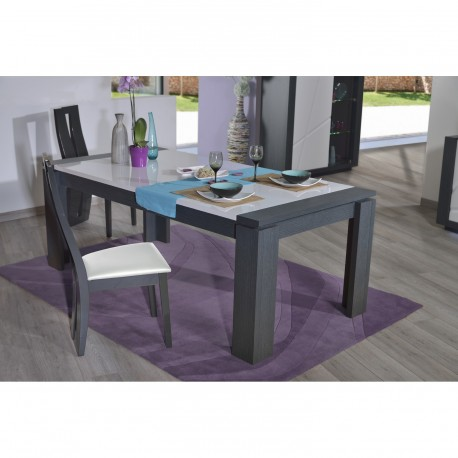 Quartz   Extendable Dinning Table With Dark Wood Body