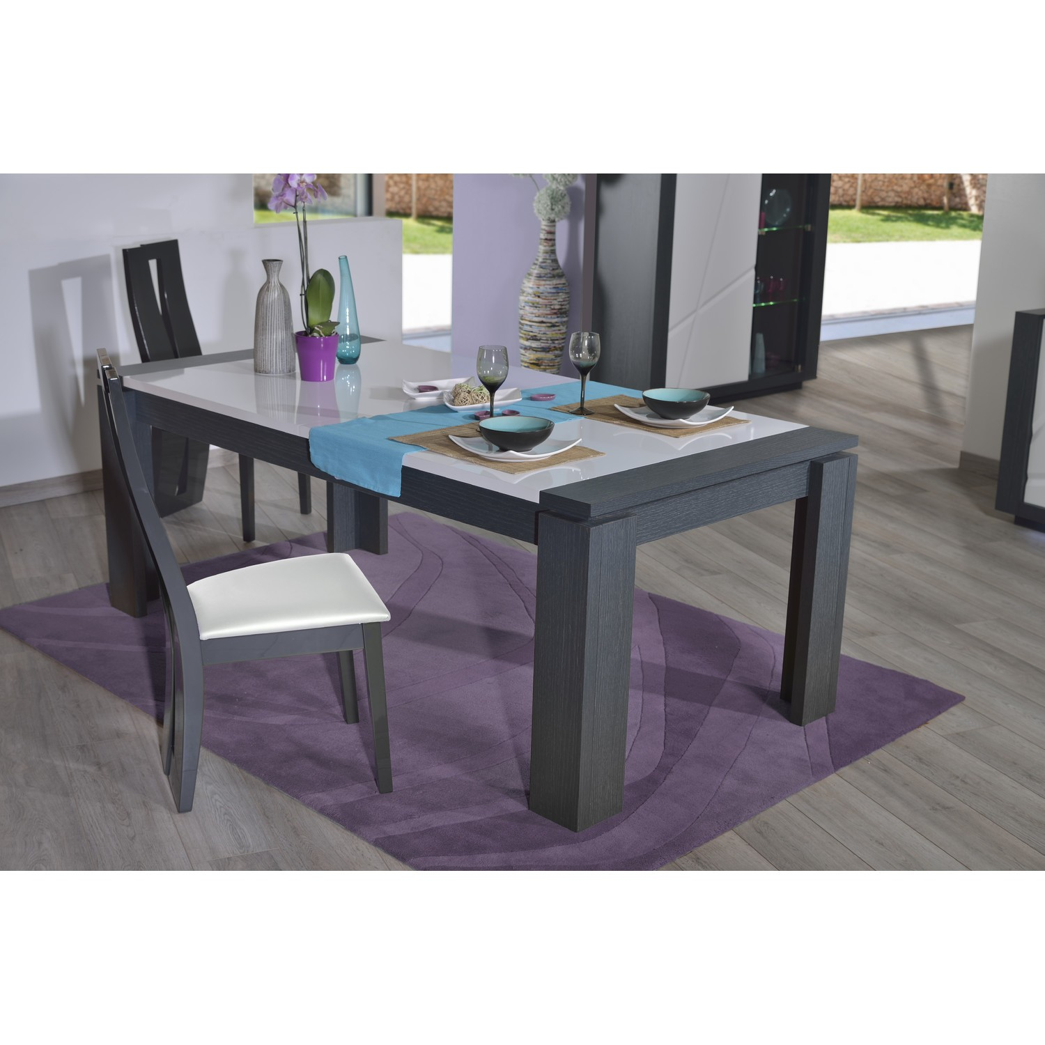 Quartz extendable dining table with dark wood body Dining