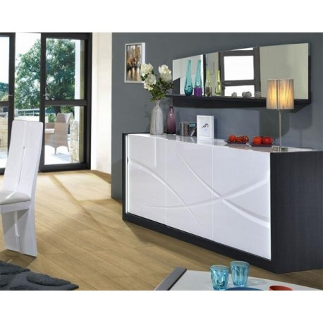 Elypse I - white lacquer sideboard with dark wood body