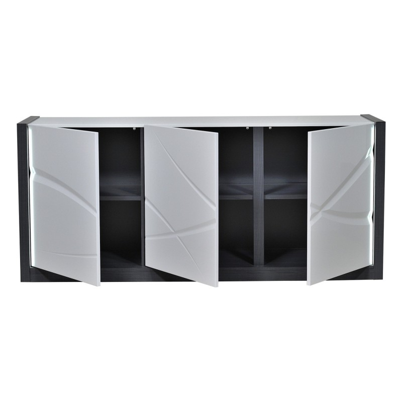 Elypse I White Lacquer Sideboard With Dark Wood Body Sideboards Sena Home Furniture