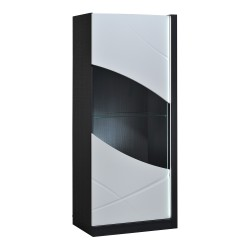 Elypse - white lacquer display cabinet with dark wood body