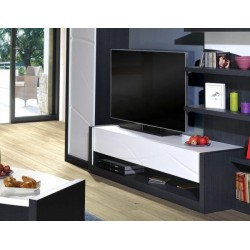 Elypse - white lacquer TV Unit with dark wood body