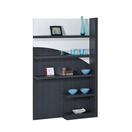 Quartz -large white lacquer display cabinet with dark wood body
