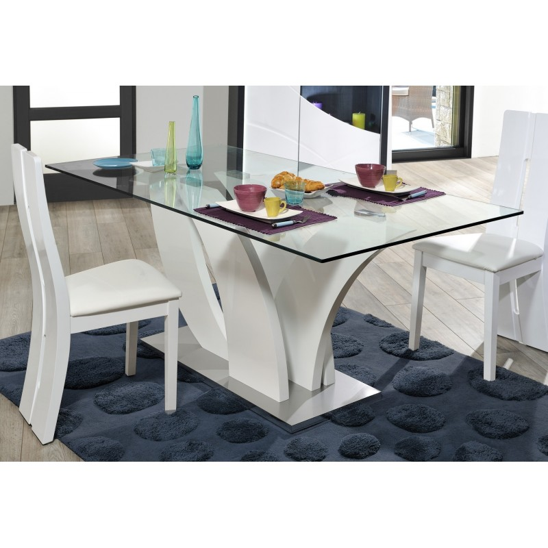 Elypse glass top table dining tables sena home furniture - Table rallonge 20 personnes ...