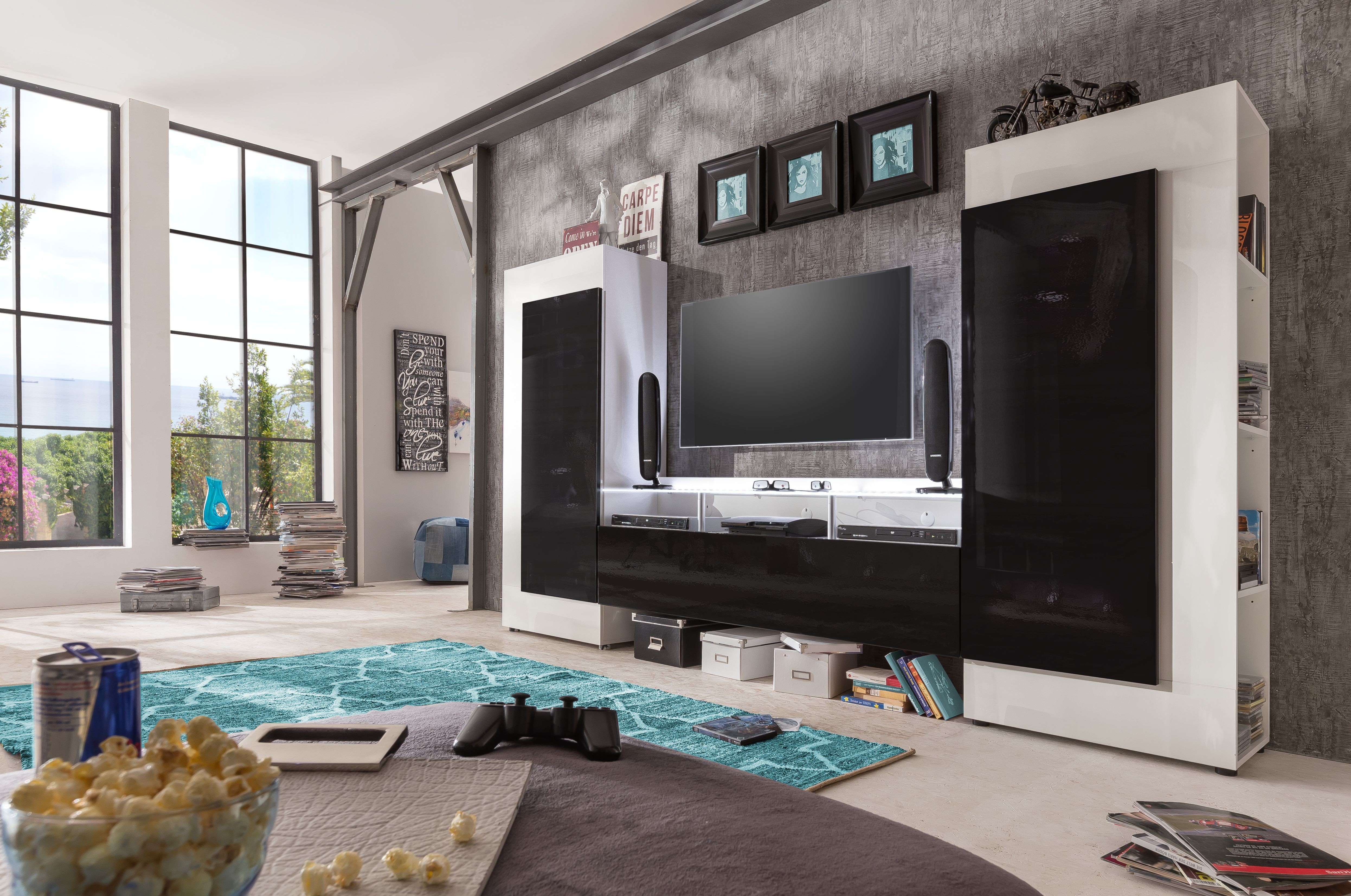 Cooper Modern Tv Wall Set With Led Lights Wall Units