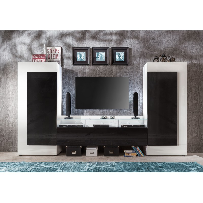 Cooper modern tv wall set with led lights wall units for Modern tv set furniture