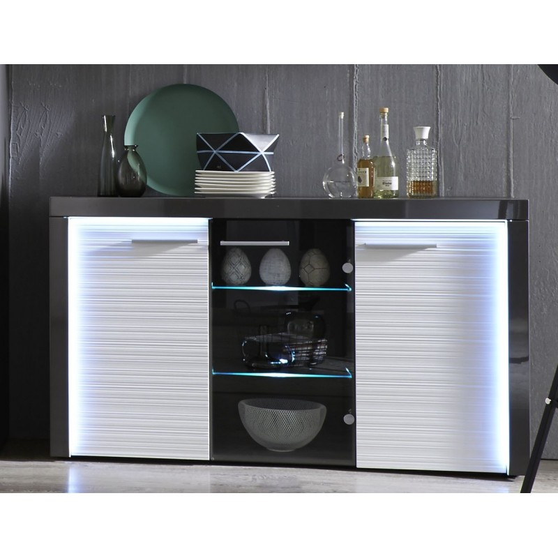 Flamingo grey gloss sideboard with led lights for Sideboard pablo