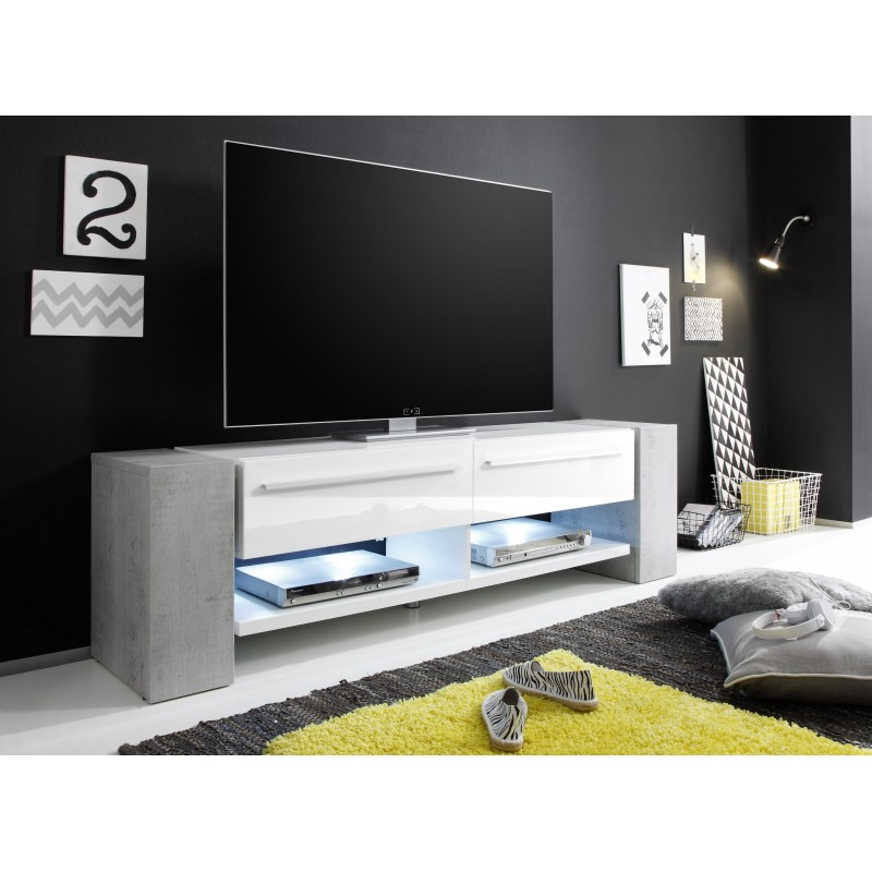 Time White Tv Stand With Stone Imitation Legs Tv