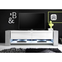 Time II - Large White TV Stand with stone imitation legs
