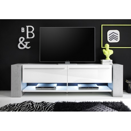 Time II Large White TV Stand With Stone Imitation Legs