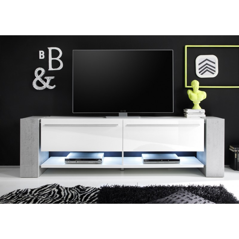 Time Ii Large White Tv Stand With Stone Imitation Legs Tv Stands