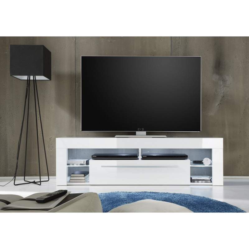 Score TV Stand In White High Gloss With LED Lights