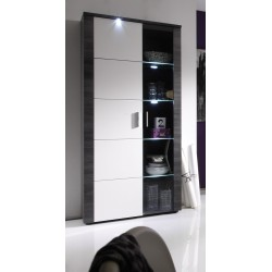 Xpress -grey ash and gloss display cabinet with LED lights