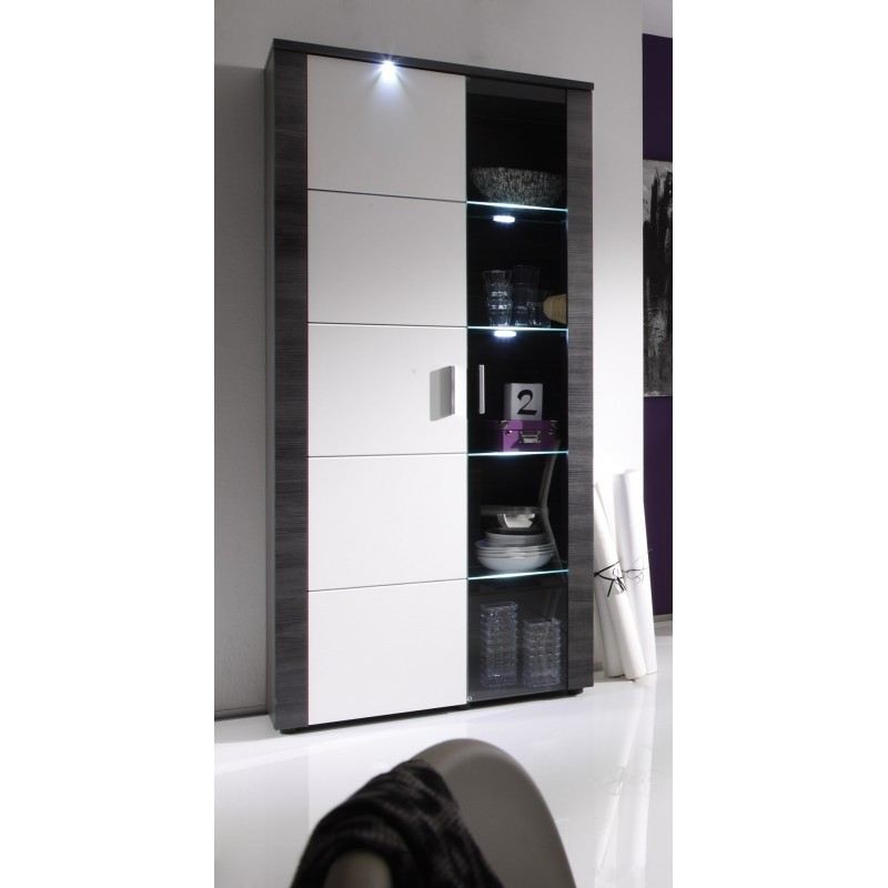 Ash Grey Cabinets Kitchen: Xpress -grey Ash Display Cabinet With LED Lights