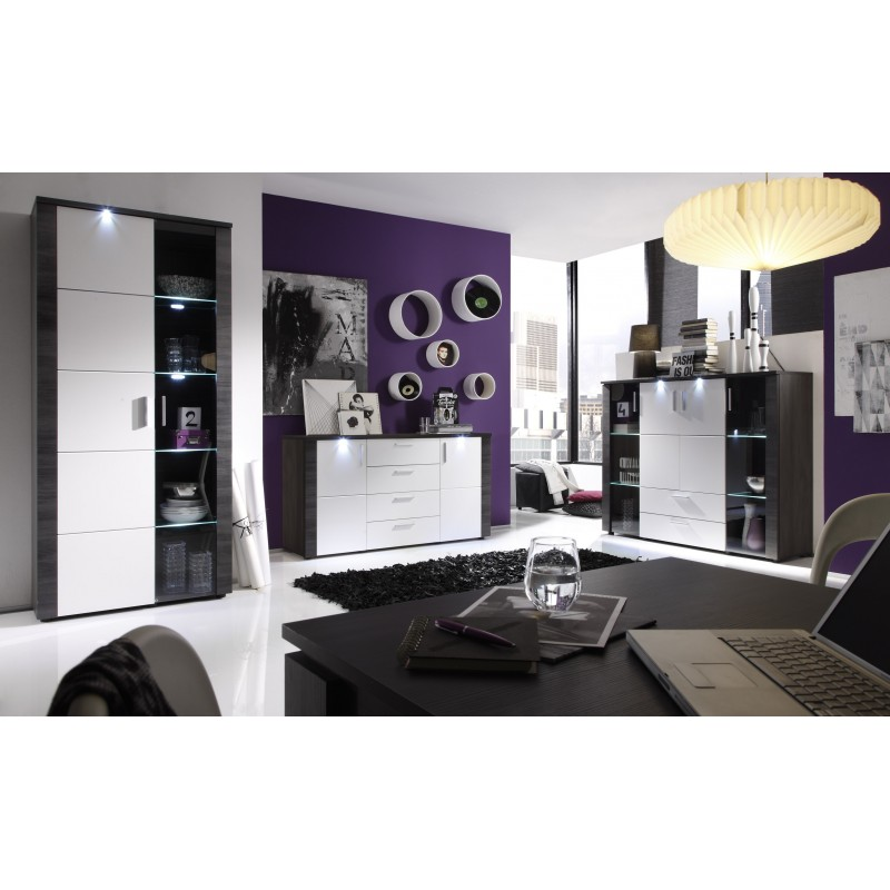 Xpress Grey Ash And White Sideboard With Led Lights Sideboards