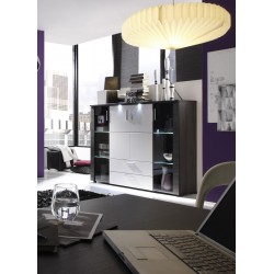 Xpress -grey ash and white gloss highboard with LED lights