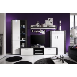 Xpress -grey ash and white  gloss lounge set with LED lights