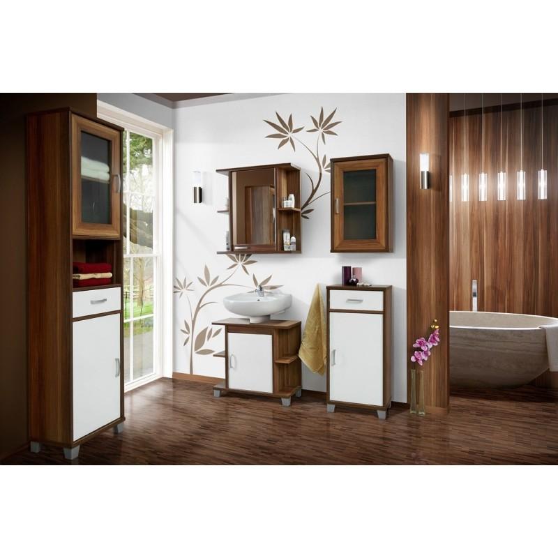 Aron bathroom set in cherry wood colour finish 1609 sena home furniture for Cherry wood bathroom furniture