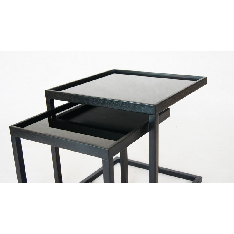 Ibbi contemporary Nest Of 2 Tables In Solid Oak And Glass