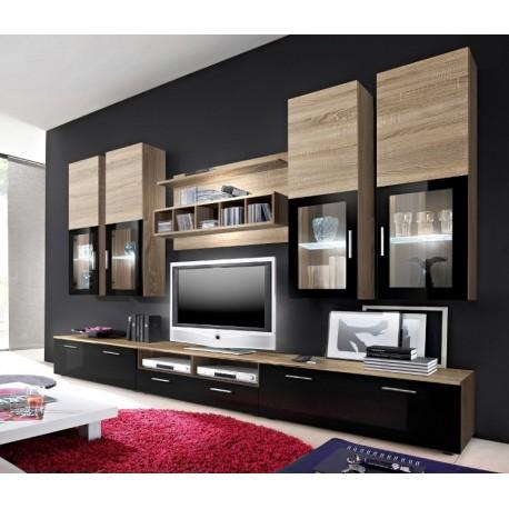 Lyon wall set - santana oak & black