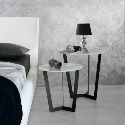 Bells -contemporary nest of 2 tables in solid oak and glass