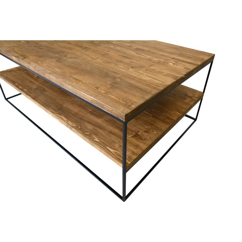 Redwood III Industrial Style Pine Wood Coffee Table