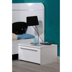 First - white gloss bedside cabinets
