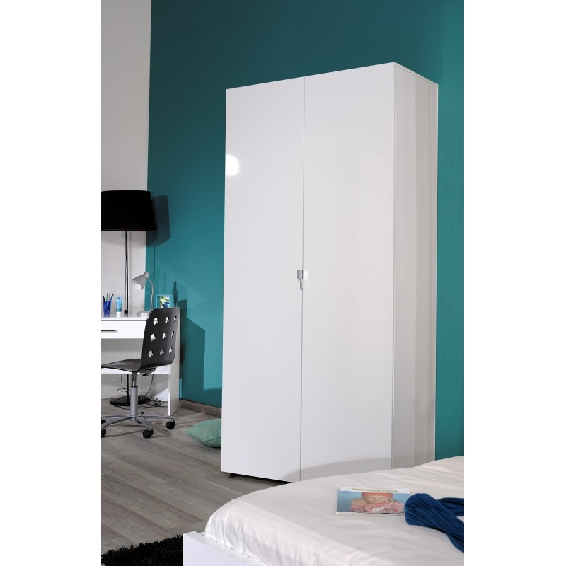 first white gloss 2 door wardrobe wardrobes sena home furniture. Black Bedroom Furniture Sets. Home Design Ideas