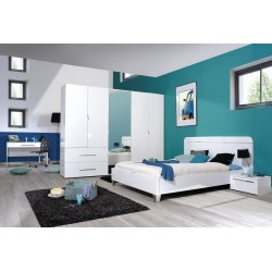 First III - large white gloss 5 door wardrobe with mirror