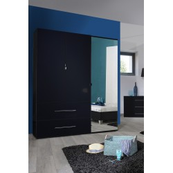 First II - black gloss 3 door wardrobe with mirror