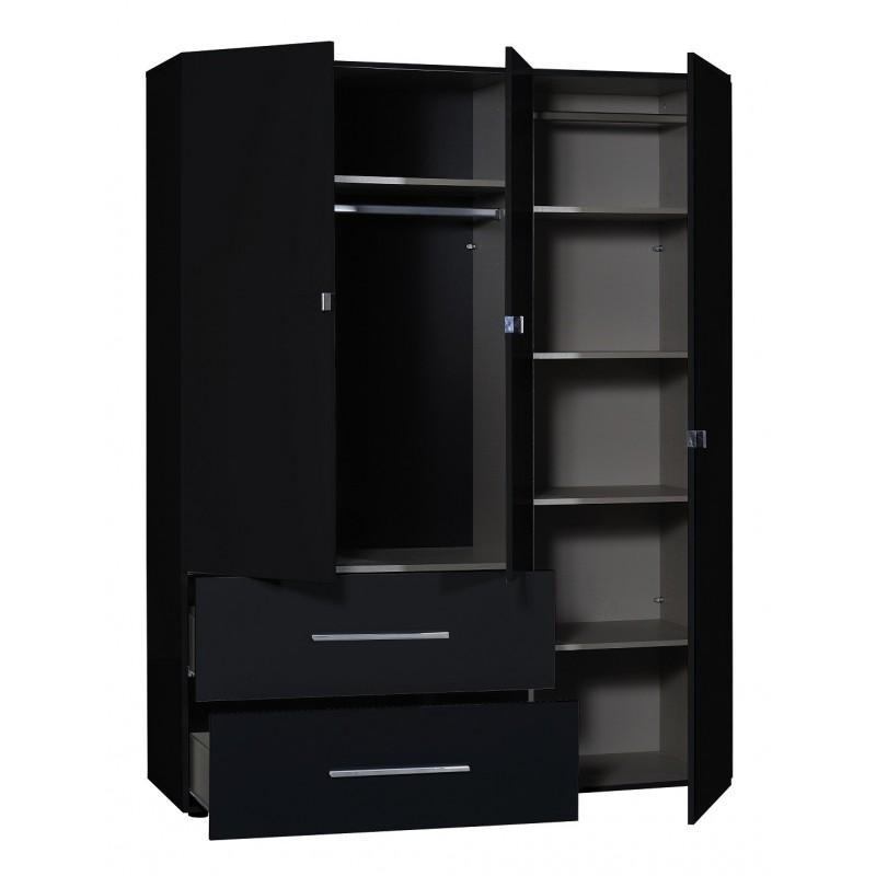 First Ii Black Gloss 3 Door Wardrobe With Mirror Wardrobes Sena Home Furniture