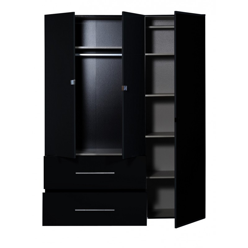 first ii black gloss 3 door wardrobe with mirror wardrobes 1699 sena home furniture. Black Bedroom Furniture Sets. Home Design Ideas