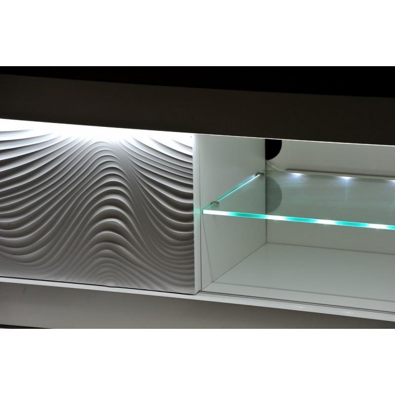 White Gloss Led Furniture: White Gloss TV Unit With LED Lights