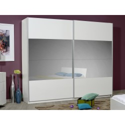 Optimus - large white gloss wardrobe with sliding doors and mirror