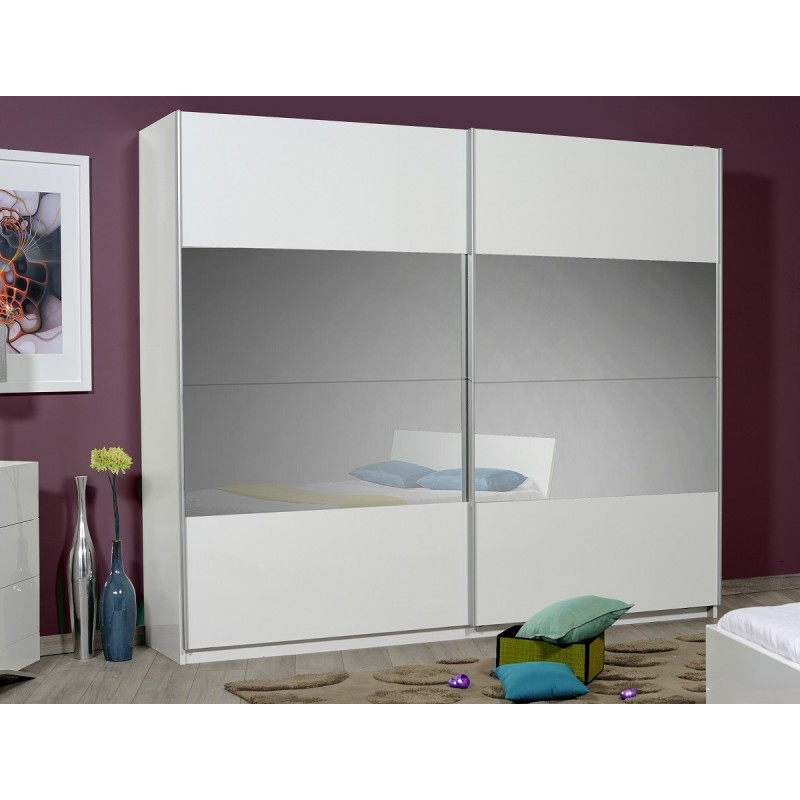 optimus large white gloss wardrobe with sliding doors and mirror wardrobes sena home furniture. Black Bedroom Furniture Sets. Home Design Ideas