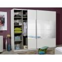 Optimus - large black gloss wardrobe with sliding doors and mirror