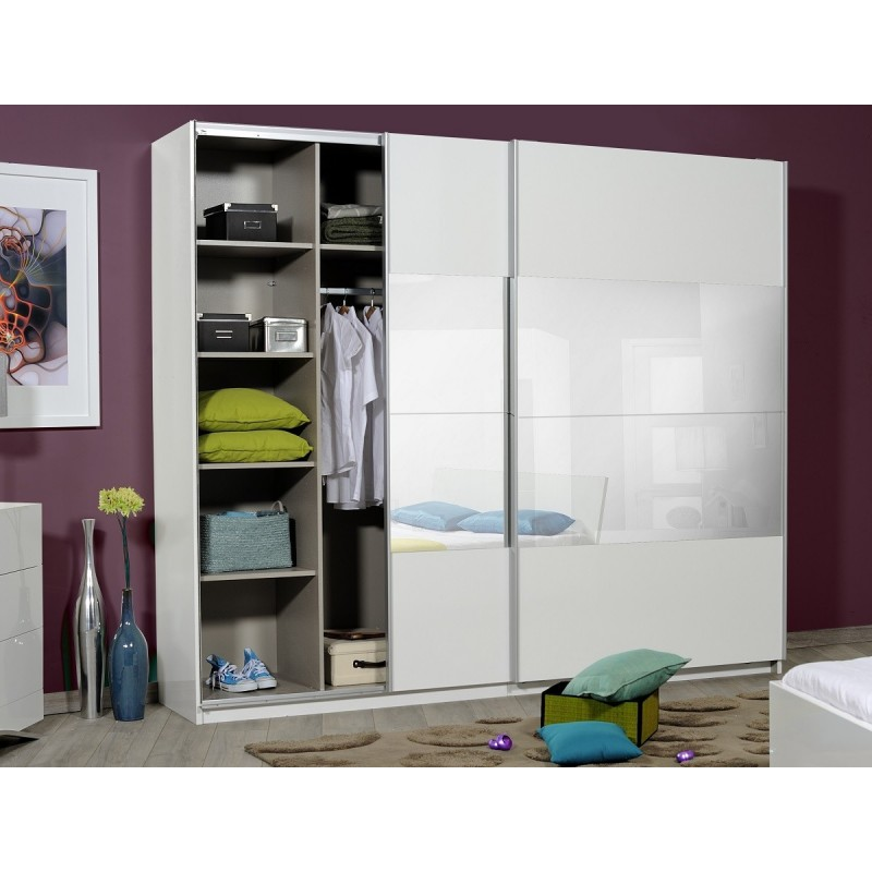 optimus large black gloss wardrobe with sliding doors and mirror wardrobes 1710 sena home. Black Bedroom Furniture Sets. Home Design Ideas