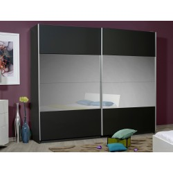 Optimus - large black gloss wardrobe with sliding doors and mirror