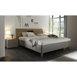 Tambura- Italian modern bed beige and wenge