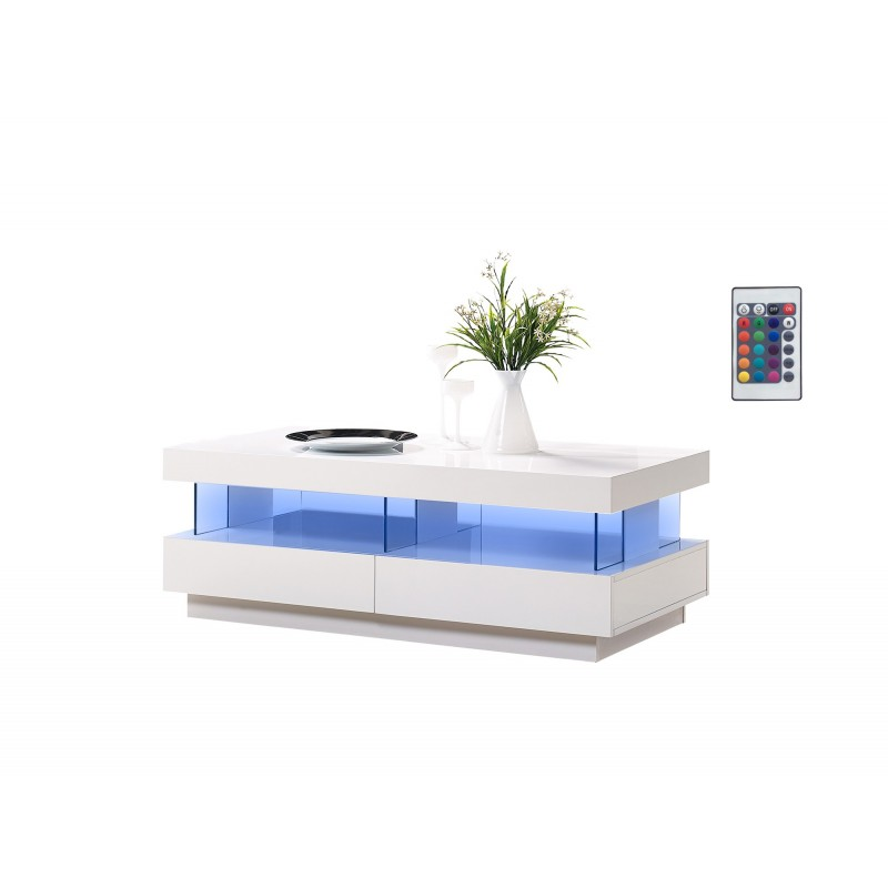 Amsterdam gloss coffee table with led lights sena home furniture Led coffee table
