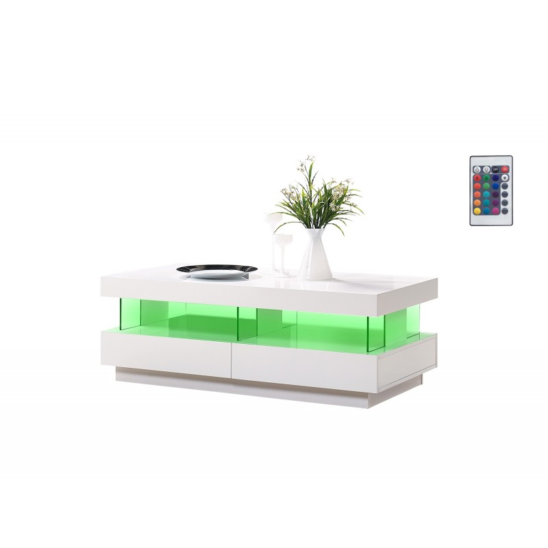 Rectangle High Gloss White Coffee Table With Led Lighting: Gloss Coffee Table With LED Lights
