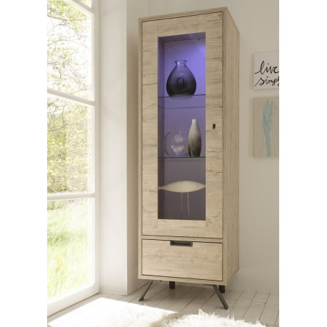 Parma-Light oak display cabinet with lights