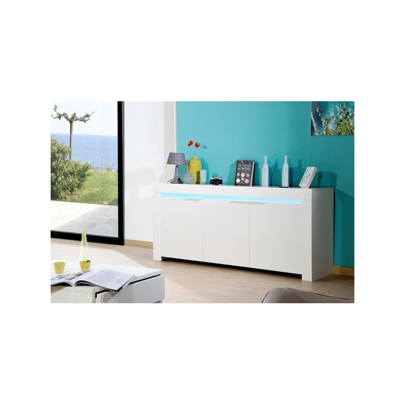 White Gloss Led Furniture: Gala White Gloss Sideboard With Led Lights