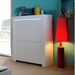 Gala - white gloss highboard with LED lights