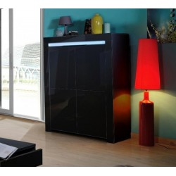 Gala - black gloss highboard with LED lights